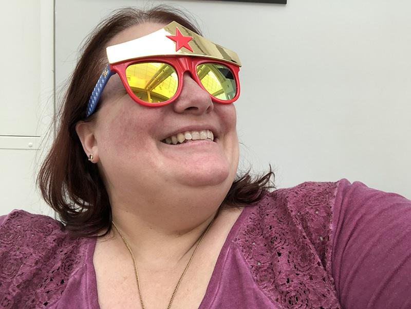 Michelle wearing Wonder Woman sunglasses